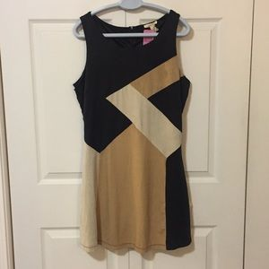 Retro Style Faux Suede Dress